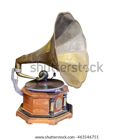 Antique Phonograph, retro old gramophone with horn speaker for playing music over plates isolated on white background. This has clipping path. #463546751