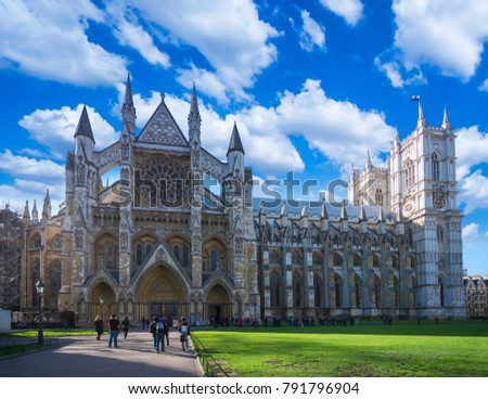Antique picture of the Westminster Abbey in London,The Westminster Abbey church in London UK