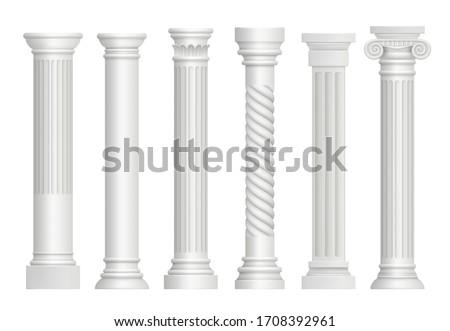 Antique pillars. Greek historical rome classic columns realistic illustrations Photo stock ©