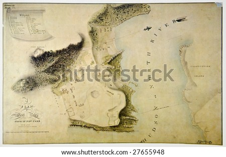 Antique plan of West Point, state of New York. Photo from old reproduction