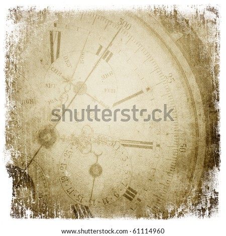 Antique pocket clock face. Grunge background with isolated borders.