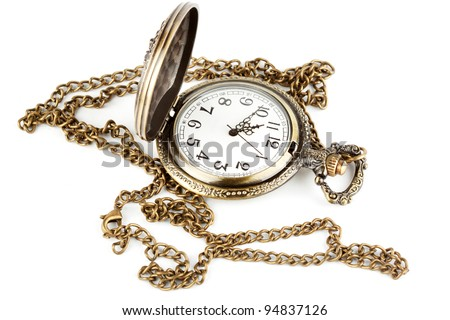 Antique pocket watch on a chain with open lid.