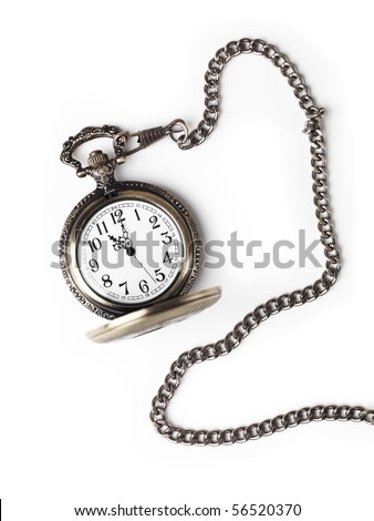 Antique pocket watch on a chain with open lid. Isolated on white background.