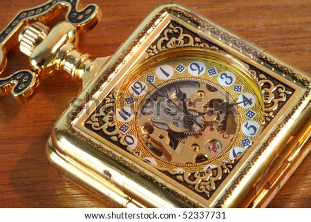 Antique pocket watch on the table.