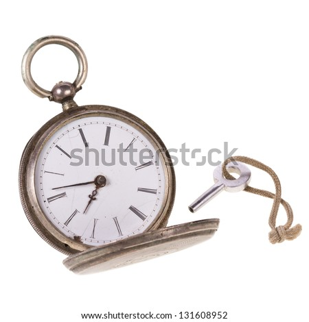 antique pocket watch with crown isolated on white background