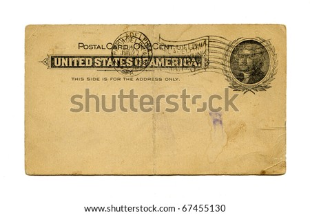 Antique Postal Card front, Philadelphia stamp, Thomas Jefferson, circa 1898
