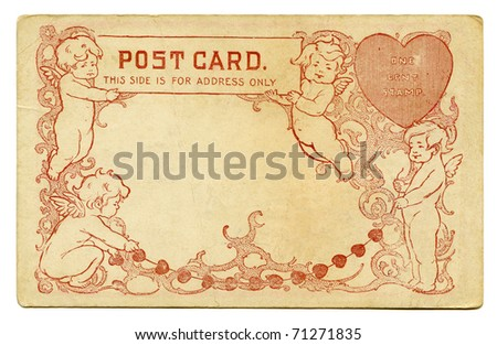 Antique Postcard back with Cupids and Heart