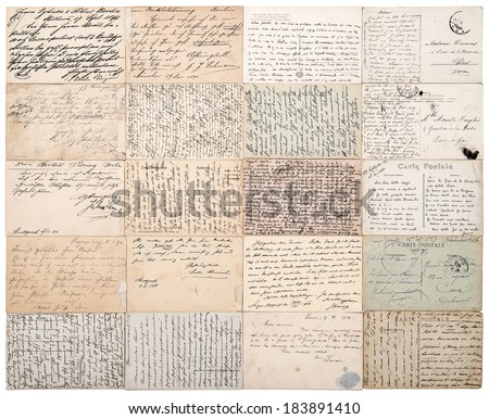 antique postcards. old handwritten undefined texts from ca. 1900. grunge vintage papers background