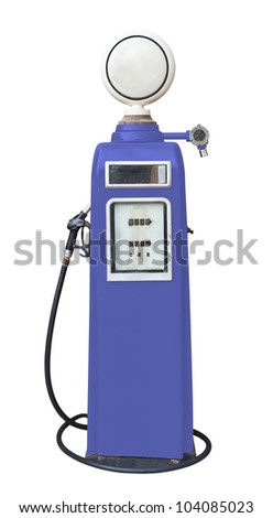 Antique purple gas pump on white with clipping path