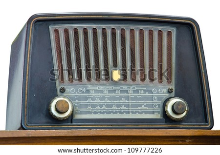 Antique radio on a white background