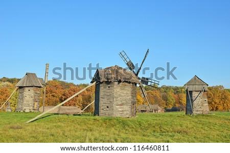 Antique ramshackle wooden windmill, Pirogovo, Kiev, Ukraine