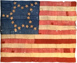 Antique Rare Early American Flag, 24 Stars, 1821-1836, in the Great Star Pattern, 19th Century