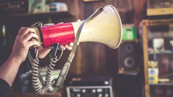 Antique red and white Megaphone. (vintage style)