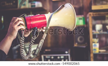 Shutterstock Antique red and white Megaphone. (vintage style)