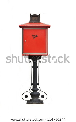 Antique red metal mail box isolated on white