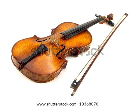 antique red violin on white background