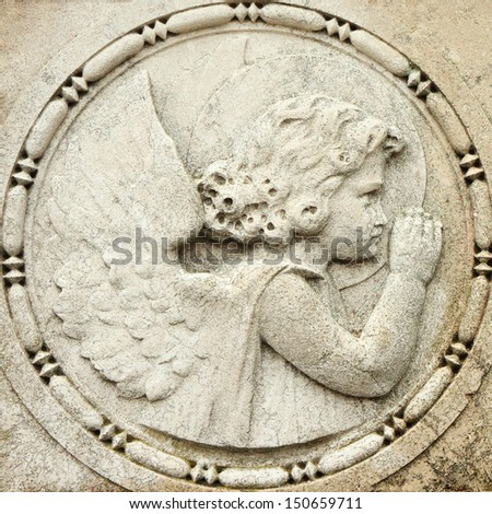antique relief with cemetery angel Venice San Michele monumental cemetery Italy Europe