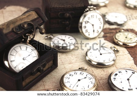 Antique retro silver pocket clocks