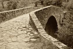 antique roman bridge made with stones