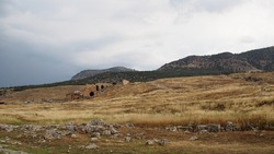 Antique Roman structure in Pamukkale, Turkey