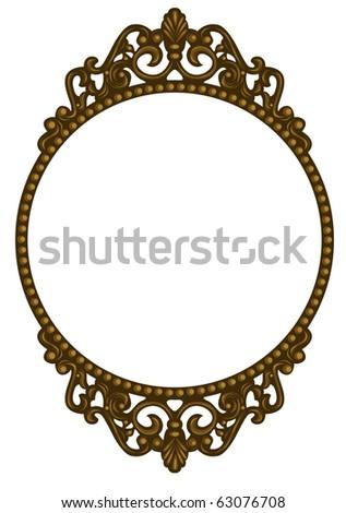 Antique round bronze frame