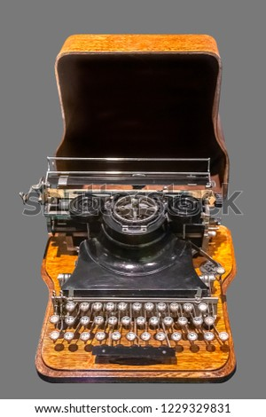 4cadedd445f ANTIQUE RUSSIAN TYPEWRITER. Old vintage Russian typewriter on isolated gray  background with clipping path.