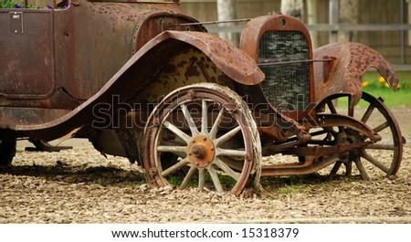 Antique rusty truck (1917) - stock photo