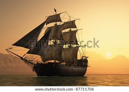 Antique sailing ship at sea.