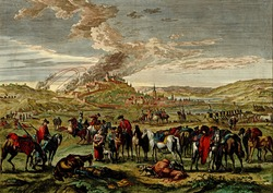 Antique scene of the siege of a hilltop town  from the Atlas of fortifications and battles, by Anna Beek and Gaspar Baillieu  Originally published in 17th century.