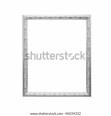 antique silver frame isolated on a white background