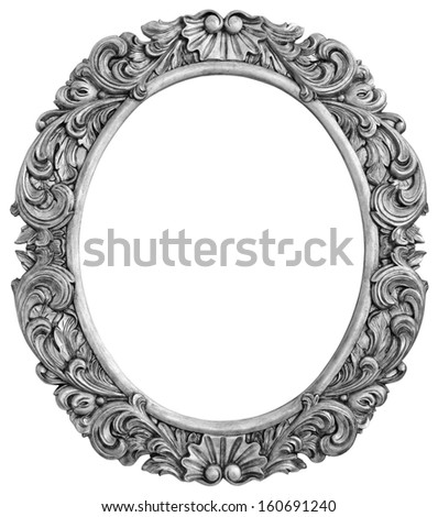Antique silver plated frame Isolated with Clipping Path