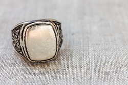 antique silver ring close-up