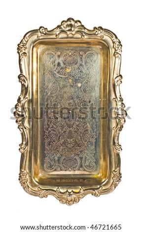 Antique Silver Tray On White - stock photo