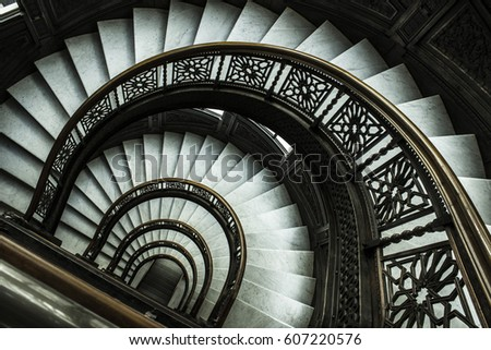 antique spiral staircase #607220576