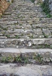 Antique staircase of ancient ruins.Rumeli Hisarı.Istanbul.Turkey