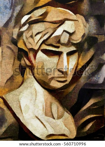 Antique statue monument of Apollo. Fine art in the form of three-dimensional images. Oil on canvas with elements of pastels. Handmade for interior design and gift.