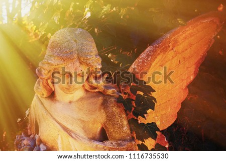 Antique statue of gold angel in the sunlight.