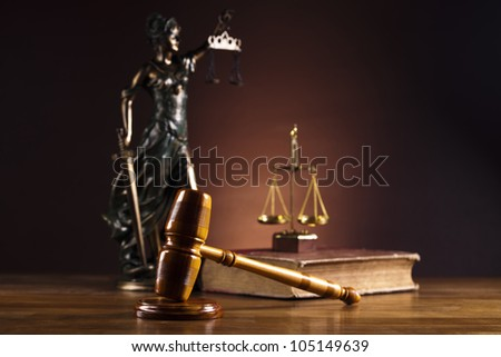 Antique statue of justice, law