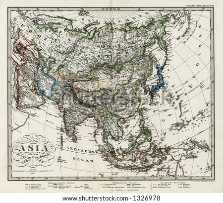 Antique Stieler Map of Asia 1872