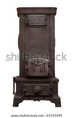 Antique stove with bull-head motive