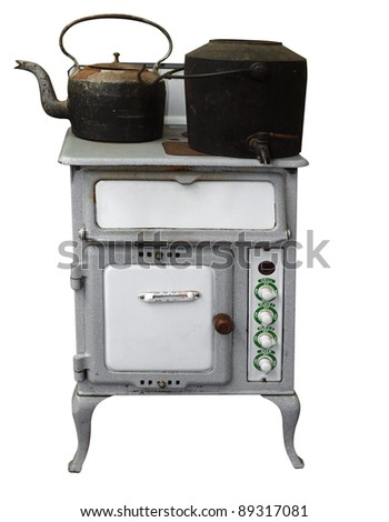 Antique Stove with Pot & Kettle isolated with clipping path