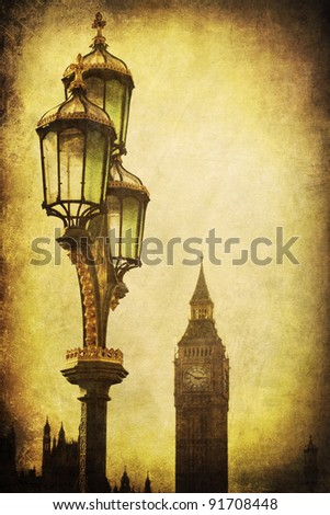 antique street lamp with the Big Ben in the background with vintage texture and vignette