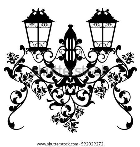 antique streetlamp among garden rose flowers - black and white design