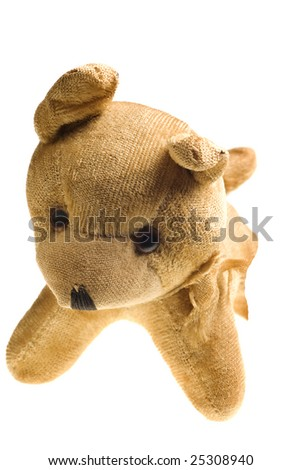 antique stuffed dog isolated on a pure white background