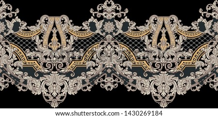 Antique style gold flowers, leaves.   Decorative elegant luxury design.golden elements in baroque, rococo style.seamless vintage pattern.