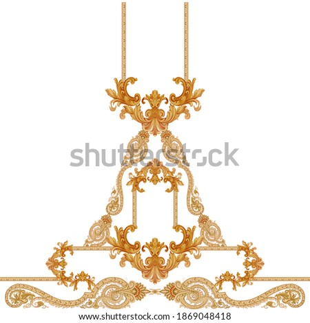 Antique style gold flowers, leaves. Decorative elegant luxury design. golden elements in baroque, rococo style pattern.
