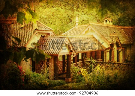 antique style picture of a picturesque old cottage
