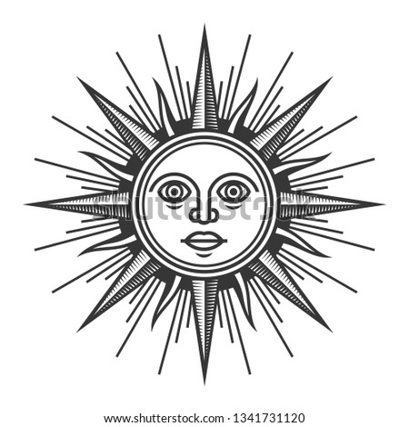 Antique Sun Face Icon on White Background.