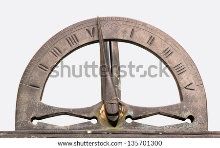 Antique Sundial isolated on white background with clipping path