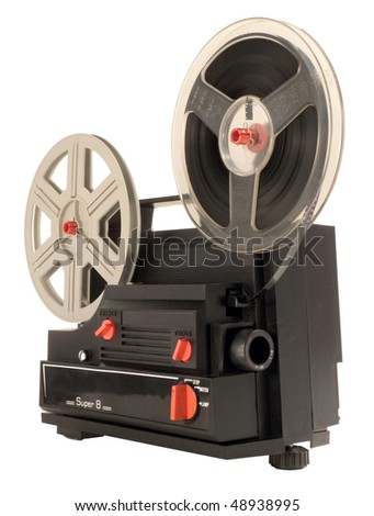 Antique Super 8mm film projector, isolated. Clipping path is included